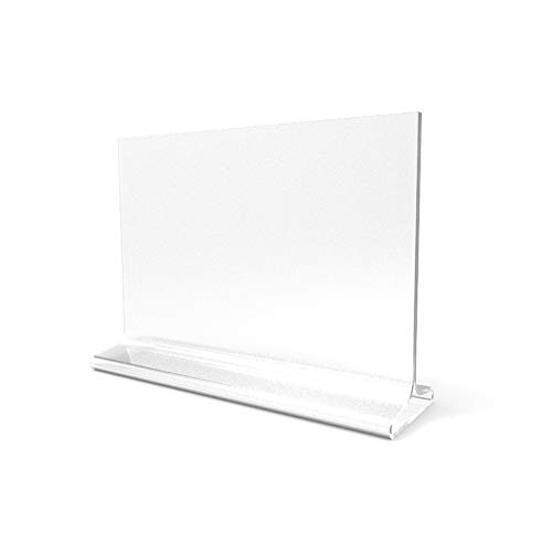 - FixtureDisplays 7 x 5 Acrylic Sign Holder for Tabletops, Horizontal, Top Insert, T-Style - Clear19074 19074