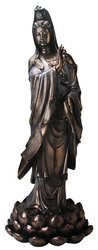 SS-Y-7911 3-Feet Bronze Kuan Yin on Lotus Buddhism Statue Decoration