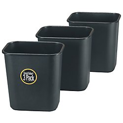 Eldon Wastebasket - Durable Polyethylene Wastebaskets, 7 Gallons, Black, Pack Of 3