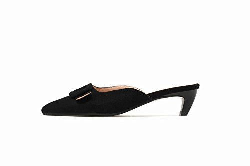 Kitten Black Sexy Slippers Pointed Sandals Heel Womens Carolbar Toe Fashion 6qOnaB