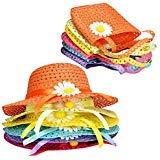 T O K G O - 6 Girls Tea Party Sun Hat and Purse Sets. Includes 6 Purses & 6 Daisy Flower Sunhats]()