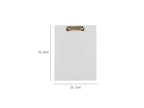 JxucTo Plastic Clipboard A4 Concise Clip Boards For Memo Paper Files Holding Protective Cover(White)