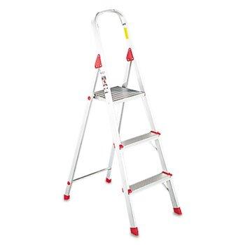 566 Three Foot Folding Aluminum Euro Platform Ladder Red