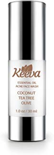 Keeva Organics 5-in-1 Essential Oil Clarifying Acne Face Wash - Organic Tea Tree Oil, Aloe Vera & Essential Oils For a Refreshing Deep Clean - Clears Hormonal & Cystic Acne Scars.