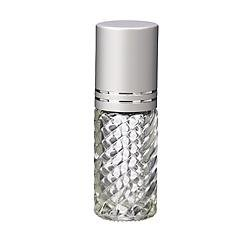 4 Bottles Fancy Large 30ml Roll On Empty Glass Bottles for Essential Oils Refillable 1 Oz Glass Roller Ball Roll-On 30 ml Clear Swirled Glass w/ Upscale Matte Silver Aluminum Caps by Grand Parfums ()