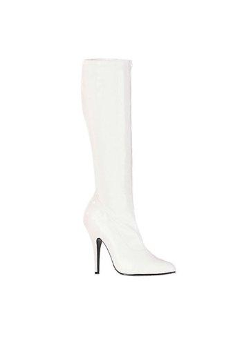 High Boot Knee Stretch (Pleaser Women's Seduce-2000 Knee-High Boot,White Stretch Patent,11 M US)