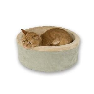 K&h Heated Thermo Kitty Cat Pet Cuddle Cup Bed Sage 16