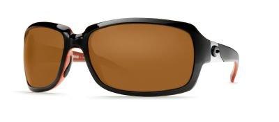 Costa Del Mar Sunglasses - Isabela- Plastic / Frame: Black and Coral Lens: Polarized Amber 580P - Del Mar Isabela Costa Sunglasses