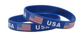 Lot of 2 Team USA Wrist Band Flag Logo Fans Silicone Wristband ID Bracelet Bangle Souvenir Gift. USA Winter Olympics - Great Gift For Men & Women, Him or Her