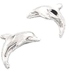 STERLING SILVER MINI DIAMOND CUT DOLPHIN EARRINGS ON POSTS