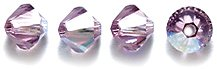 (Swarovski 5328 Xilion Bicone Diamond Beads, Aurora Borealis, Light Amethyst, 4-mm)