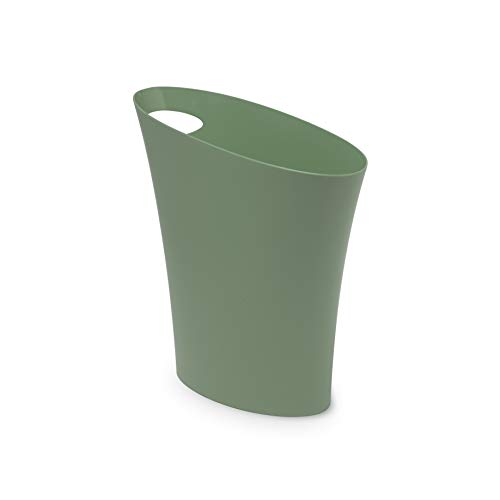 Umbra Skinny Sleek & Stylish Bathroom Trash, Small Garbage Can Wastebasket for Narrow Spaces at Home or Office, 2 Gallon Capacity, Spruce, Single ()