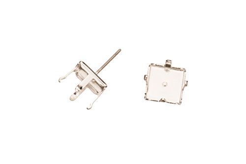 Cabochon 4 Prong - 4-Prong Diamond Snap-On Ear Stud Silver Plated Brass Fits 10X10mm Cabochons And Crystal With Surgical Stainless Steel Pin 10X10mm sold per 8pcs/pack (3pack bundle), SAVE $2
