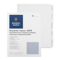 Plain Tab Indexes,5-2 Wide Tab,100 St per Box,White by Business Source
