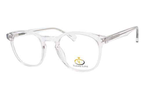 Fashion Clear Optical Frames For Men and Women Replaceable lens Non Prescription Eyeglasses Hand Made Designer Acetate Eyeglasses cute glasses Vintage Clear Round ()