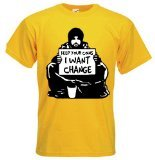 Change Yellow T-shirt (Tribal T-Shirt Men's Banksy Keep Your Coins I Want Change T-Shirt Small Yellow)