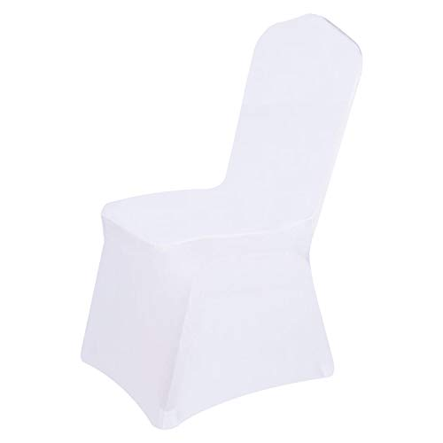Easy-Going Wedding White Chair Covers Decoration Polyester Spandex Stretchable Banquet Flat Chair Slipcover for Wedding Party Meeting Dining(6PCS) -