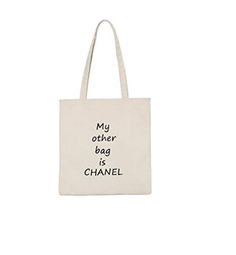 Kinue Fashion Tote Bag Female My Other Bag is Chanel Canvas Shoulder Bag Simple Light File Shopping Travel Handbag (White)