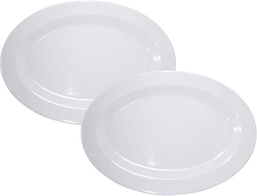 (Virtual Elements Set of 2 Melamine Oval Serving Tray - White 18