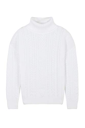 Pink Queen Women's Loose 100% Cotton Turtleneck Irish Ribbed Knit Pullover Sweater White L ()