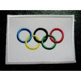 International Olympic Game Symbols Five Rings Flag Sew On Patch