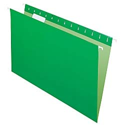 (Office Depot 2-Tone Hanging File Folders, 1/5 Cut, 8 1/2in. x 14in, Legal Size, Green, Box of 25, OD81630)
