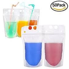 AquaCove 50pcs Clear Glossy Resealable Reclosable Plastic Hand-Held Stand-Up Zipper Pouch Drinking Bag