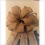 15 Inch 75 Ft Streamers Burlap Christmas Tree Topper Bow Wired