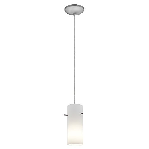 Access Lighting 28030-3C-BS/OPL Cylinder LED Cord Pendant with Opal Glass Shade, Brushed Steel by Access Lighting