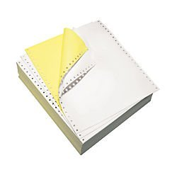 Domtar Continuous Form Paper, 9 1/2'' x 11'', 2-Part Carbonless, White/Canary, Pack of 1,700 Sheets