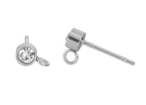 2 Pairs Sterling Silver 6mm Earring Posts Ear Studs with Loop Simulated Diamond Earnut Backs for Earrings Jewelry Making SS32-6