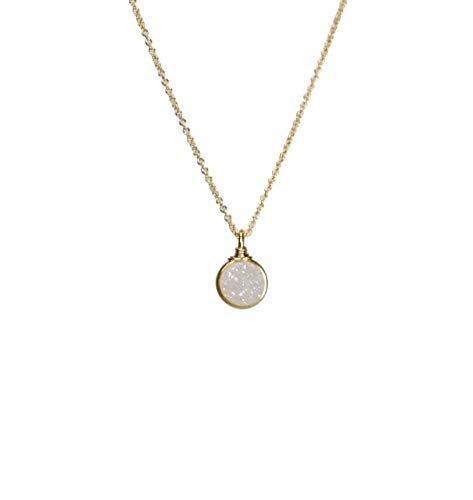 White Round Druzy Quartz Gemstone Circle Pendant Necklace Gold - Bridal Necklace- 17