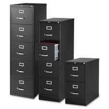 "2-Drawer Vertical File,w/ Lock,15""""x26-1/2""""x28-3/8"""",Black, Sold as 1 Each"