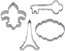 4 Piece French Paris Cookie Cutter Set Eiffel Tower Fleur De Lis Antique Key by cookiecuttershop