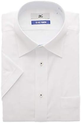 [MIZUNO] ワイドカラースタンダードワイシャツ【半袖】【白織柄】【キング】【ICE TOUCH】 盛夏用 C2JAA52K-00