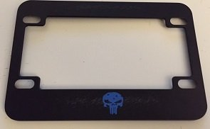 - Punisher Skull with Bullet Holes - Black with Blue Motorcycle / Scooter License Plate Frame - Fight Style Punisher