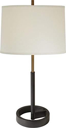 Acclaim Lighting TT5110-76 Rotunda - One Light Table Lamp, Antique Gold/Matte Black Finish with Off-White Homespun Linen Shade