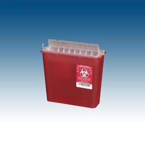 Plasti-Products 141020 Wall Mounted Sharps Container, 5 Qt, Red (Pack of 20) by Plasti-Products (Image #1)