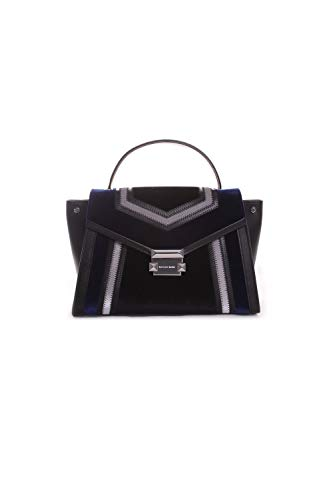 Michael Kors Whitney Tricolor Velvet Leather Satchel Handbag in Black Dark Electric ()