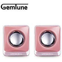 Portable Mini Computer Speakers(Pink), EARISE AL-203, High-fidelity USB Acoustics System, Powered by USB, for Laptops and Desktops, Cube Speakers, Gemini Doctor
