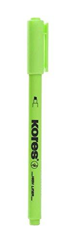 Kores High Liner Fine Highlighter Pens, Chisel Tip, Green, Blister Pack of 1