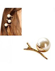 - 4Pcs Man-Made Pearl Hairdressing Duck Bill Alligator Hair Clips Gold Stainless Steel Modelling Clamp for Women Lady