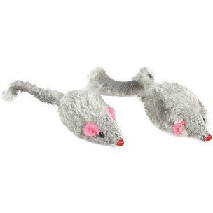 MINNIE Katzenspielzeug: 12 FELLMÄUSE grau & kurzhaarig 5cm #500359