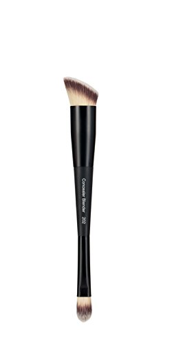 EVE PEARL Dual Brush Crease Blender Fan Highlighter Blush Contour Hypoallergenic Synthetic Easy Control And Blend Makeup Brushes (202 Concealer Blender)