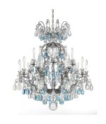 Schonbek 3573-23OS Renaissance Rock Crystal 15 Light Two Tier Chandelier in Etruscan Gold with Olivine & Smoke crystal