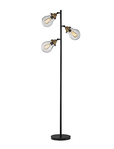 LeeZM Modern Glass Shade Floor Lamp for Living Rooms, Bedrooms, Office with Reading Light Mid Century Rustic Corner Tall Standing Up Pole Lamp with 3 LED Bulbs Vintage Industrial Style(Black/Bronze)