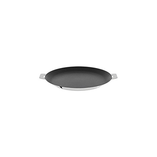 "Cristel CR30QE Non-Stick Crepe Pan, Silver, 12"" with Cristel Mutine Pman Handle, Long, Black"