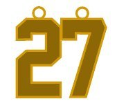 Number 27 Jersey Style Sports Necklace Charm Pendant #27 (0.8'' Tall - Standard Size) GOLD PLATED Perfect For: Football, Baseball, Basketball, Soccer, Hockey, Softball, Volleyball, Lacrosse & More