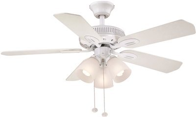 Hampton 42 Inch (GLENDALE 42 IN. INDOOR CEILING FAN WITH 3 LED LIGHT KIT, WHITE WITH WHITE/BLEACHED OAK BLADES)