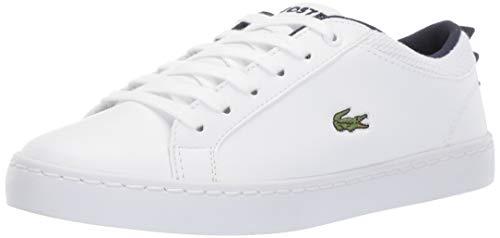 Lacoste Unisex Straightset Sneaker White Navy 13. Medium US Little Kid (Lacoste For Kids Boys Shoes)